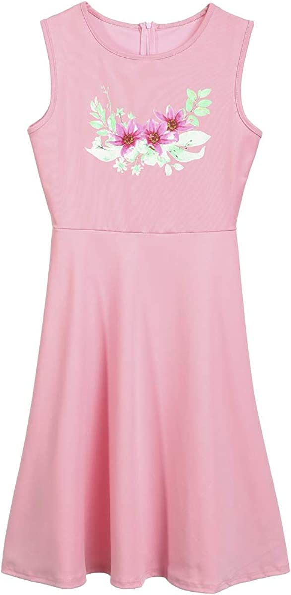 Mommy and Me Casual Dresses,Family Matching Summer Floral Print Sleeveless Dress Parent-Child A-line Dress