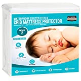 Utopia Bedding Waterproof Crib Mattress Protector - Hypoallergenic Quilted Crib Fitted - Cradle Mattress Pad (2 Pack) (White)
