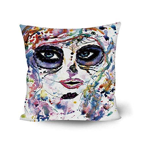 Sugar Skull Decor Comfortable Throw Pillow,Halloween Girl with