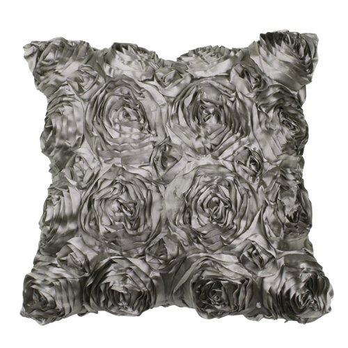 VivReal Grey Satin Rose Flower Square Pillow Cushion Pillowc