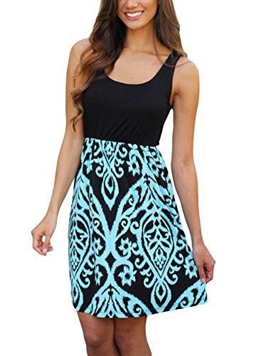 Bdcoco Women's Summer Sleeveless Print Beach Party Loose Casual Mini Dress Aqua Large