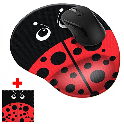 FINCIBO Red Ladybug Comfortable Wrist Support Mouse Pad for Home and Office with Matching Microfiber Cleaning Cloth for Computer and Mobile - Pad Mouse Ladybug
