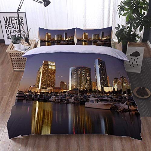 VROSELV-HOME 3 PCS King Size Comforter Set,san Diego Downtown Marina,Soft,Breathable,Hypoallergenic,Decorative 3 Piece Bedding Set with 2 Pillow Sham