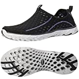 ALEADER Women's Mesh Slip On Water Shoes Black/Purple 10 D(M) US