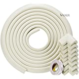 Vacker EXTRA THICKER Child and Corner Cushion[16.5ft Edge + 8 Corners] - Childproofing Guard Child Home Furniture Safety Bumper Baby Proof Table Protector (16.5 ft) (white)