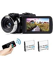 2,7K camcorder Oplaadbare vlogging-videocamera LED-invullicht 30FPS FHD 42MP 3,0 inch LCD-draaibaar scherm Camcorder met afstandsbediening (BL)