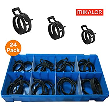 Mikalor 4 x 44mm W1 Heavy Duty Spring Band Clip Radiator Pipe Air Oil Fuel DIN 3021