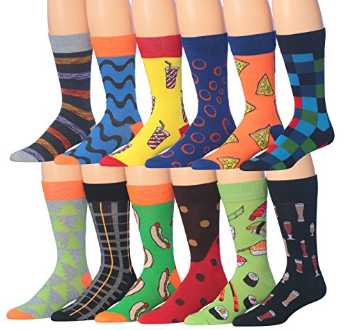 James Fiallo Men's 12 Pairs Novelty Colorful Patterned Funky Dress Socks, Fits shoe 6-12 (sock size 10-13), M179-12]()