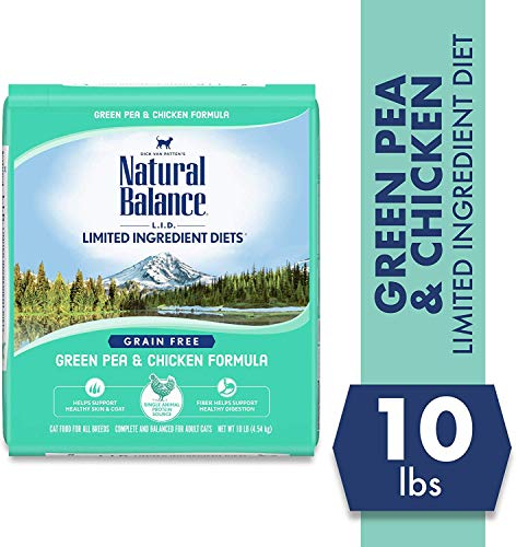 Natural Balance Limited Ingredient Diets Green Pea & Chicken Formula Dry Cat Food, 10 Pounds, Grain Free
