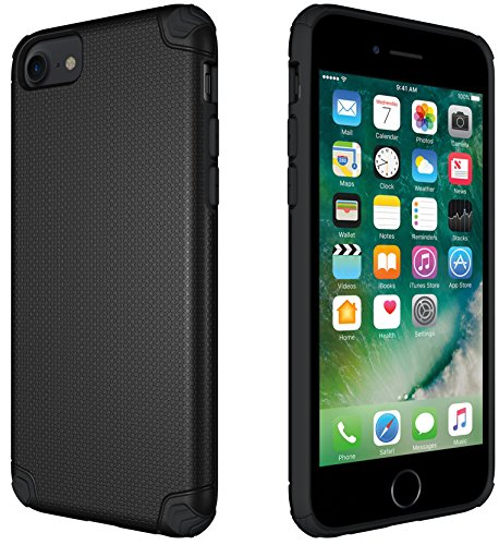CellEver Slim Guard Pro Heavy Duty Case Protective Shock-Absorbing Scratch-Resistant Drop Protection Cover for Apple iPhone 6 / 6s / 7/8 (Fits All 4 Models) (Black)