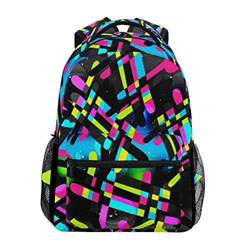 Girls School Backpack Abstract Graffiti Hip Hop College Book Bag Lady Travel Rucksack by Parlpam