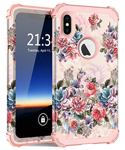 iPhone XS Max Case, Hocase Shockproof Heavy Duty Protection Hard Plastic Cover+Silicone Rubber Case Hybrid Dual Layer Protective Phone Case for iPhone XS Max 2018 - Peony/Rose Gold