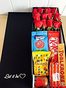 Rosas Rojas 12 + Chocolates + Tarjeta + Caja. Envío URGENTE 24h Rosas Holanda