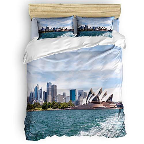 BMALL Duvet Cover Set Queen Size, Sydney Opera House Famous Music Building City Landscape Soft Stylish Home Decor Duvet Cover Set ()