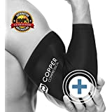 Copper Compression Recovery Elbow Sleeve, #1 GUARANTEED Highest Copper Content! Best Copper Infused Fit - Wear Anywhere. Support For Workouts, Golfers And Tennis Elbow, Arthritis, Tendonitis (Medium)