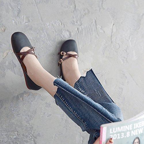 sport Comfort Autumn Office Casual EU36 Flat Chaussures amp; 5 Summer Heel Flats PU Lady Taille Noir Couleur Noir Shoes de Career UK3 Toe CN35 Round FUFU pour 5a08Ba