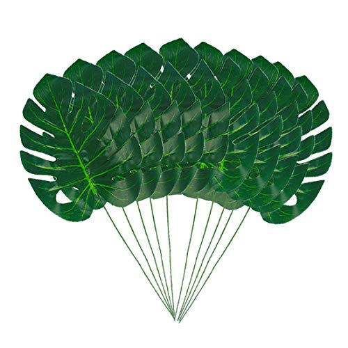 HEBE 10 Pcs Large Artificial Tropical Palm Leaves with Stems Monstera Fake Large Green Leaf for Hawaiian Luau Party Decorations Jungle Beach Birthday Theme BBQ Party Supplies ()