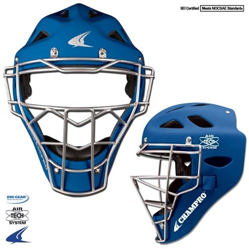 Youth Rubberized Matte Finish Catcher's Hockey Style Headgear - Royal
