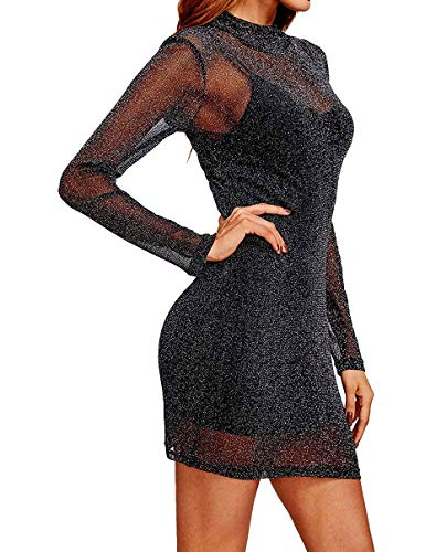 Amalxl Women's Sexy Party Club Glitter Mesh Overlay 2 in 1 Mini Dress (Large, Black)]()