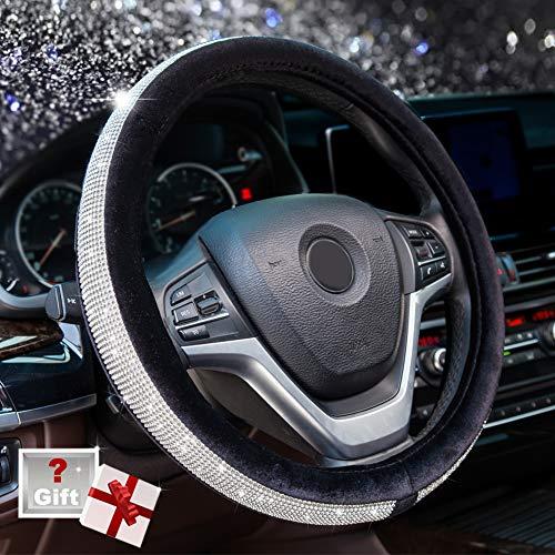 2000 Infiniti Qx4 Steering - Alusbell Crystal Diamond Steering Wheel Cover Soft Velvet Feel Bling Steering Wheel Cover for Women Universal 15 inch Plush Wheel Cover for Escape Fusion Focus Accord Prius Rav4 Black