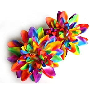 "(2) Rainbow Silk Dahlia Flower Heads - 4"" - Artificial Flowers Dahlias Head Fabric Floral Supplies Wholesale Lot for Wedding Flowers Accessories Make Bridal Hair Clips Headbands Dress 33"