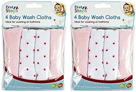 Pack de 8 suave bebé toalla de paños de franela lavable a máquina a desde 0 meses +: Amazon.es: Bebé
