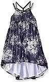 Calvin Klein Little Girls' Criss Cross Strap Hi-Lo Dress, Black, 5