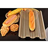 meizhouer Baguette French Bread Baking Tray,Gold