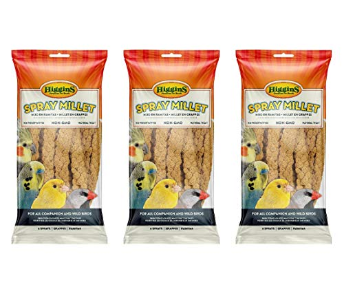 Higgins 18 Count Spray Millet, Natural Treats for All Pet and Wild Birds
