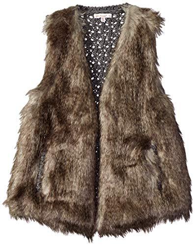 Ella Moss Girls' Big Faux Fur Vest, Brown, 14]()