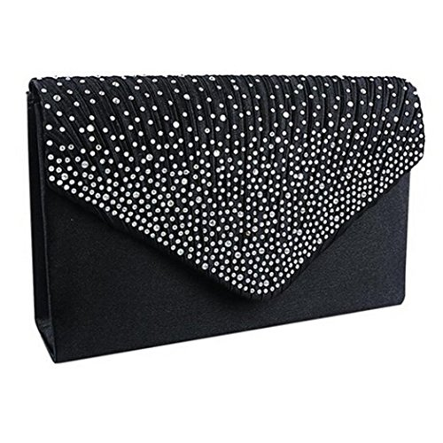Womens SHOBDW Black Shoulder Bag Prom Ladies Clutch Party Envelope Satin Sexy Bridal Evening Cocktail Wedding Diamante Bags Gifts TTF1rng