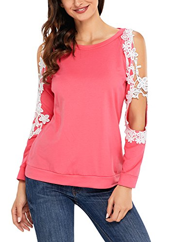 Women Sexy Crochet Lace Cold Shoulder Long Sleeve Tops Blouse t Shirt Large Coral (Sexy Coral)