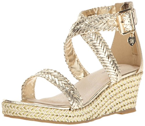 Stuart Weitzman Girls' Akilah Sparkle Wedge, Champagne Gold/