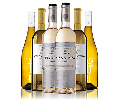 Selección de 6 botellas de 3 variedades de vino blanco: 2 Botellas de Vino Cal
