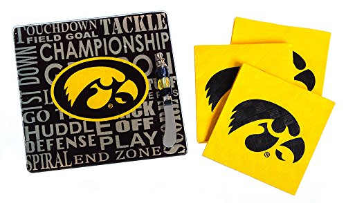 Team Sports America Iowa Hawkeyes Tailgating Napkin, Spreader and Surface Saver Party Set
