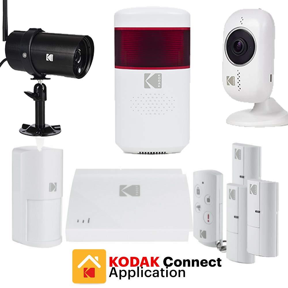 KODAK PROTECCIÓN ORO Kit Alarma de Seguridad Hogar - Kit de Seguridad con 2 Cámaras de Vigilancia Full HD Sirena Integrada y Accesorios Adicionales