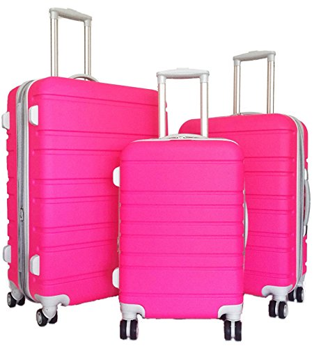 3 Pc Luggage Set Hardside Rolling 4Wheel Spinner Upright CarryOn Travel ABS ()