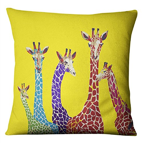 raffes Print Thick Cotton Linen Decorative Throw Pillowcase Covers(18x18IN) (Giraffe Pillow)