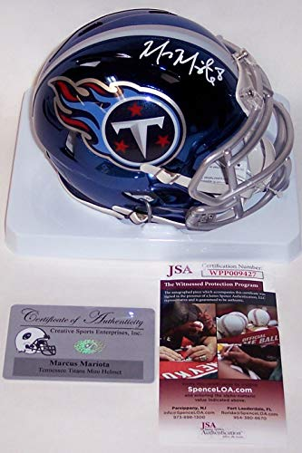 Marcus Mariota Autographed Hand Signed Riddell Tennessee Titans CHROME Speed Mini Football Helmet - (Signed Titans Mini Helmet)