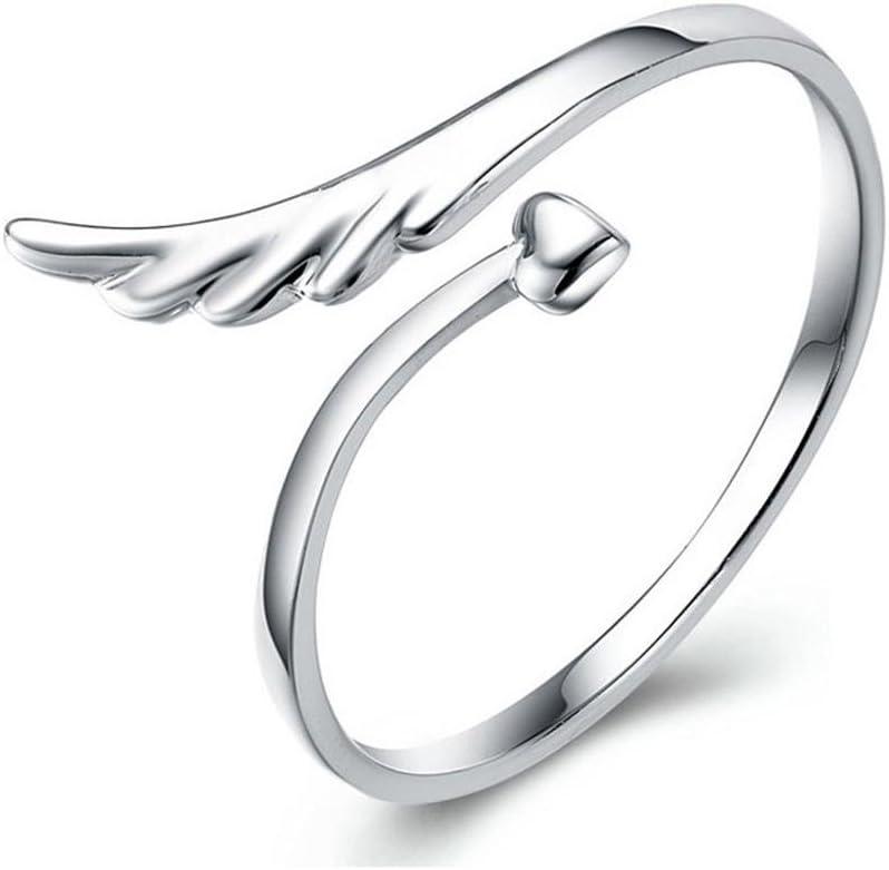 GYJUN AAA Zirkon Engelsfl/ügel S925 feine Silber Form verstellbarer Ring