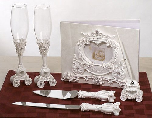 (Fairytale Wedding Coach Set: Guest Book, Pen Set, Cake Serving Set, Toasting Flutes)