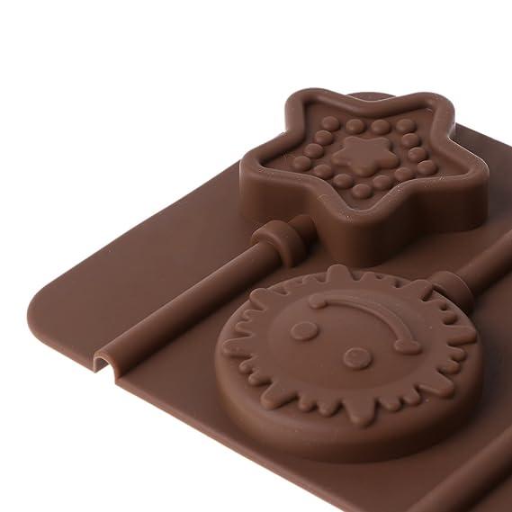 Besttse Moldes En Forma De Estrella De Silicona Con Forma De Piruleta, Herramienta Para Hornear Caramelo De Chocolate: Amazon.es: Hogar