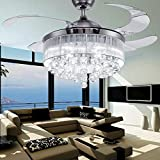 COLORLED Ceiling Flush Mounted Light Kit Crystal Silver Drawing Retractable 42-Inch Ceiling Fan for Living Room Bedroom Restaurant Three Color Changing Fan Chandelier Lighting Review