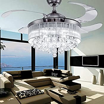 ceiling fan chandelier light kit. colorled ceiling flush mounted light kit crystal silver drawing retractable 42-inch fan for chandelier