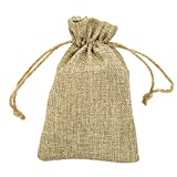 5Pcs Natural Burlap Bags Jute Hessian Drawstring Sack Small Wedding Favor Gift