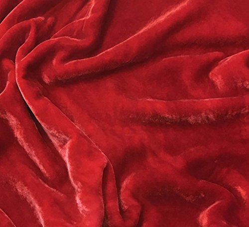 "Hand Dyed Silk Velvet Fabric -fat 1/4 18""x22""- (Scarlet Red)"