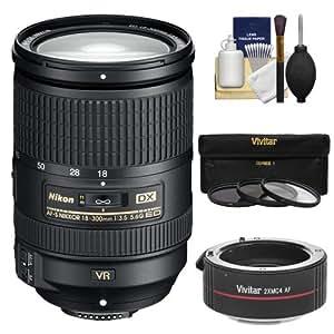 Nikon 18-300mm f/3.5-5.6G VR DX ED AF-S Nikkor-Zoom Lens with 2x Teleconverter (= 18-600mm) + 3 UV/ND8/CPL Filters + Kit for Digital SLR Cameras