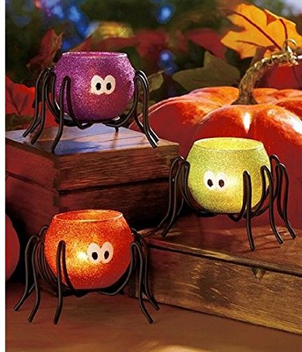 51BmEs1STuL  Halloween Spider Tea Light Candle holders, Set of 3