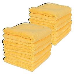 Professional Grade Premium Microfiber Towel : Gold w/ Black Silk Edges 16\