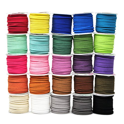 Mandala Crafts 138 Yards Jewelry Making Flat Micro Fiber Lace Faux Suede Leather Cord (25 Rolls - Real Leather Cord Jewelry